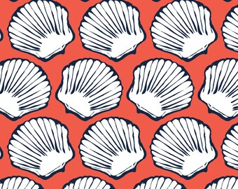Vintage Seashells Fabric - Seashells In Navy And Coral By Mintedtulip - Vintage Beach Seashells Cotton Fabric By The Yard With Spoonflower