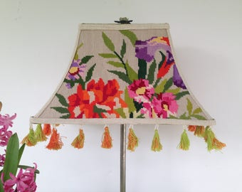 "Needlepoint Lampshade, Orange Floral Lamp Shade, Funky Vibrant Decor, 7""t x 14""b x 9"" high - To Die For, One of a kind fun, A Shop Hit!"