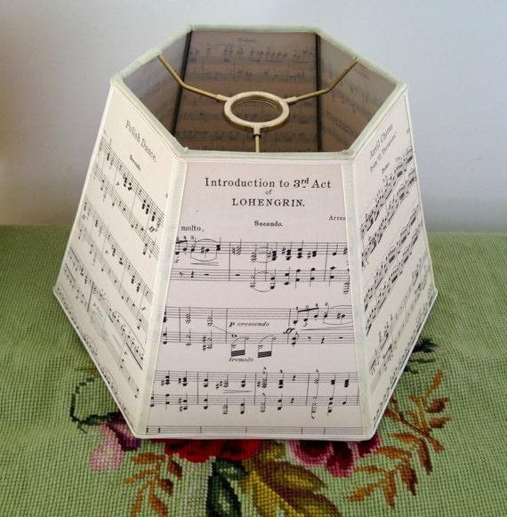 Sheet Music Lamp Shade Uno Lampshade 7x12x8 Handmade