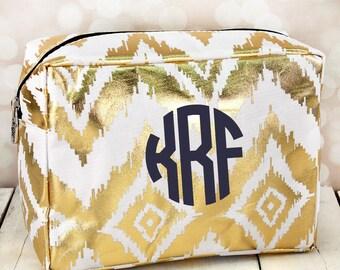 Metallic gold ikat makeup bag , monogrammed makeup bag , bridesmaid makeup bag , personalized makeup bag