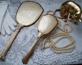 Elegant 1930s Art Deco Brush and Mirror Set, Gold Tone, Goldtone, 1920s, 1930s, Grooved, Gold Filigree, Boudoir Set, French Chic, Glamour