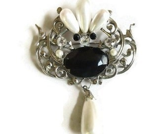 Large Faux Pearls & Rhinestones Dangle Brooch Vintage Black and White Statement
