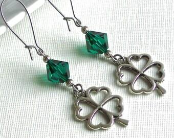 Shamrock Earrings - Emerald Green, Swarovski Elements, Clover Earrings, Silver Earrings