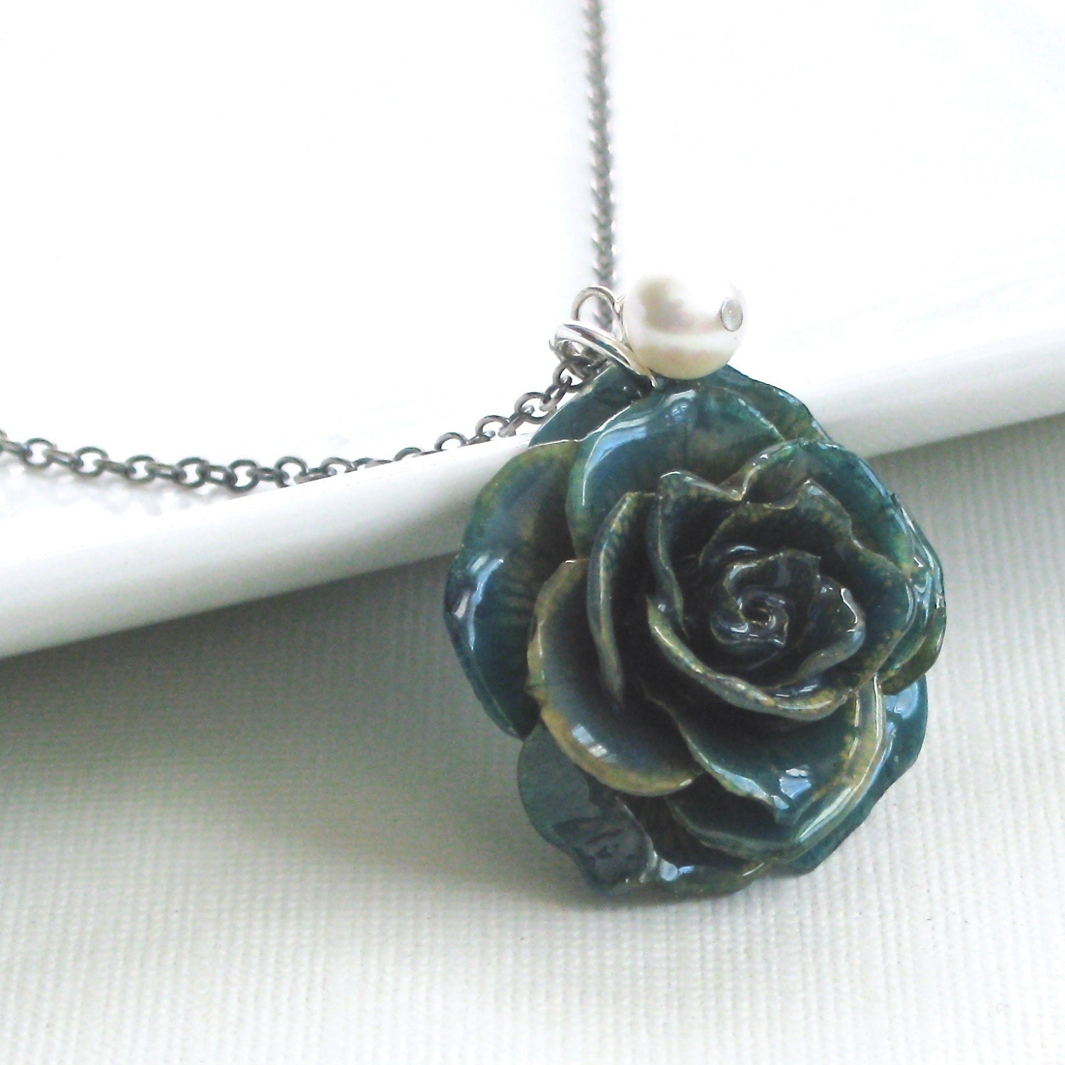 Real Flower Jewelry Blue Preserved Rose Necklace Sterling