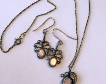 Charming Vintage Sterling and Opal Necklace and Earring Set