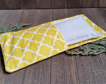 Aromatherapy Eye Pillow Flax Organic Lavender Mint Yoga Savasana Removable Cover Yellow White Relaxation Soothing Natural Microwave Compress