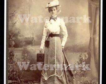 1900s Woman with Box Camera Studio Professional Photographer Sepia Portrait