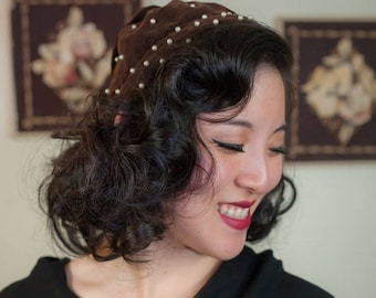 SALE - Vintage 1950s Hat - Cute Brown Velveteen Pearl Adorned 50s Headband Scarf with Tail