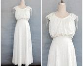 pleated ivory boho wedding dress