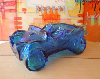 Vintage 1970's Blue Dune Buggy Car Glass Avon Bottle Perfume Bottle Empty Automobile Aftershave Decanter