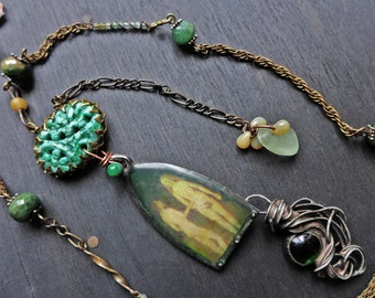 "Mixed media necklace with resin pendant and chrome diopside beads - ""A Conversation in the Garden"""