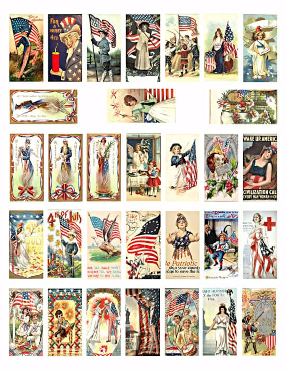 USA flag fourth 4th of july domino collage sheet 1 x 2 inch patriotic vintage art American independence day clip art digital download