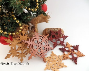 Christmas Ornaments, Wooden Snowflakes ,Decorations, Yule, Hanukkah, Holidays, Winter Garland Ornament , Handmade wood snowflakes