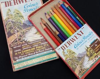 Vintage 1960s Made in England Derwent Coloured Pencils Series No.19 Assortments original box  with pencils 100% BRITISH