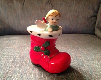 Vintage--Lefton--Girl ANGEL In Santa Boot--Christmas Candleholder--No. 1906