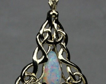 Australian Opal Celtic Knot Pendant in 14K Gold, Chain Not Included