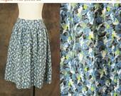 ON SALE vintage 50s Skirt - 1950s Blue Novelty Ivy Print Feedsack Cotton Full Skirt Sz M