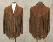 vintage 1970s Fringe Leather Jacket - 70s Boho Brown Suede Coat -  Western Leather Jacket Sz M L