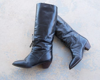 vintage 1980s Riding Boots - 80s Black Knee High Leather Boots Lace Up Ankle Equestrian Boots Sz 7.5 38
