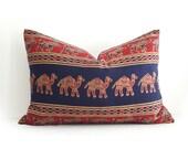 Indigo Bohemian Pillow Covers, Blue Red Boho Pillow, Camel Pillows, Navy Blue Red Pillows, Indian Batik Pillows, 14x20 Lumbar Cushion, NEW