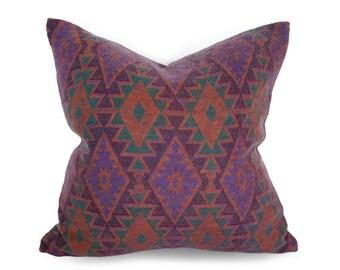 Aztec Throw Pillow, Purple Aztec Pillow Cover, Purple Green Southwestern Pillow, Native American Pillow, Aztec Cushion, Dorm Decor 18x18