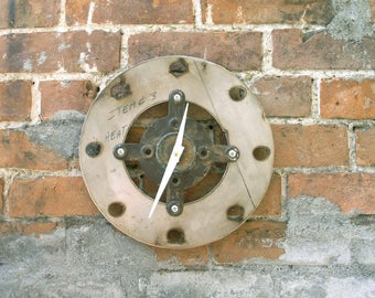 Industrial Wall Clock Salvaged Metal Unique Office Clock Mechanic Gift Steampunk Timepiece Interior Decor Repurposed Reclaimed Manly Decor
