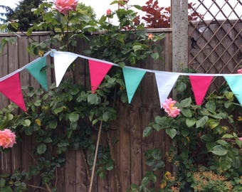 Pink mint white Bunting / Fabric Garland / Banner -  10ft long 18 flags, great for birthday parties, fetes