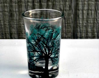 Toothpick Holder, Hand Painted Glass, Glass Toothpick Holder, Table Decoration, Hand Painted Tree with Teal Leaves, Shot Glass, Bar Glass