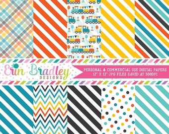 50% OFF SALE Train Boys Choo Choo Party Digital Paper Pack Commercial Use Instant Download