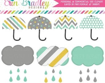 50% OFF SALE Rainy Day Clipart Umbrellas and Shower Cloud Weather Graphics Instant Download - Personal & Commercial Use