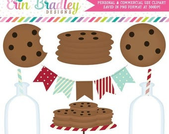 50% OFF SALE Milk and Cookies Clipart Clip Art Personal & Commercial Use