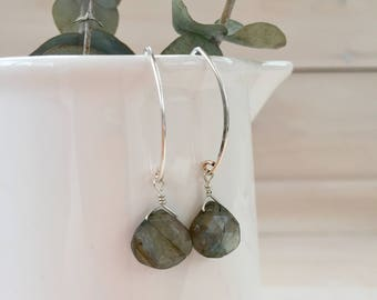 Labradorite Teardrop Earrings in Sterling Silver