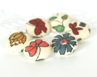 Fabric Button - Italian Flowers - 6 Small Fabric Buttons, Pink Blue Yellow Red Floral Fabric Covered Buttons, Medieval Flowers, Renaissance