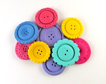 Clay Buttons - Polymer Clay Buttons, Colorful Cute Buttons, Mixed Media Buttons, Button Set