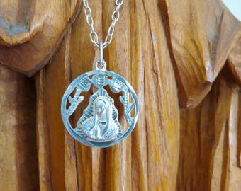 "Souvenir from the Basilica---Vintage GUADALUPE 1965 72% Silver Coin Pendant on Sterling silver 20"" chain- OOAK"