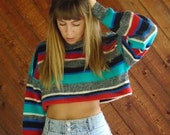 20% off SALE ... Striped Oversized Crop Knit Pullover Sweater - Vintage 80s - OS OSFM