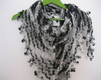 Lacy Shawl, scarf, wrap, black, gray variegated , fancy, love knot, hand crocheted, sooooooo beautiful, new