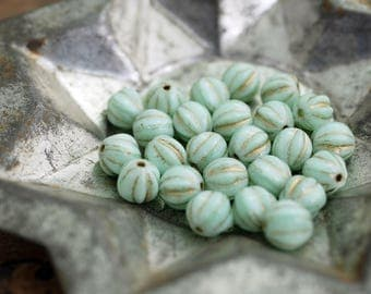 Glass Beads Melon Beads 6mm Bead Mint Gold Beads (25)