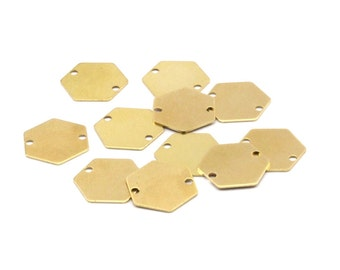 Tiny Hexagon Connector, 100 Raw Brass Hexagon Stamping Blanks, Tags, Connectors (12mm) A0794