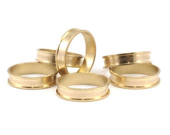 Brass Channel Ring - 10 Raw Brass Channel Ring Settings -Glue On- (19mm) N481