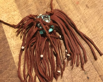 Captured Turquoise Leather Necklace