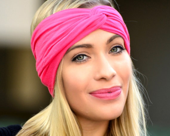 Yoga Headband Soft Headband Twist Turban Stretchy Jersey Hair Accessory Stretch Headband Mini Hat Turban Hat Fuchsia Hot Pink Cerise Spring