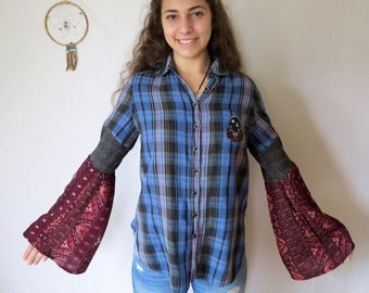 Grateful Dead Embroidered Patch Plaid Bell Sleeve Top Hippie Boho Eco Friendly Festival OOAK Womens Clothing Size Medium