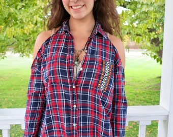 Red Plaid Native Tribal Trim Open Cold Shoulder Upcycled Tunic/Top/Shirt Women's One Size by MountainGirlClothing