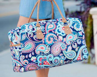 2 Navy Monogrammed Paisley duffel Tote Bags Personalized Bag Overnight Bag Outer Banks Wedding Bridesmaids gifts BeachHouseDreamsHomeOBX