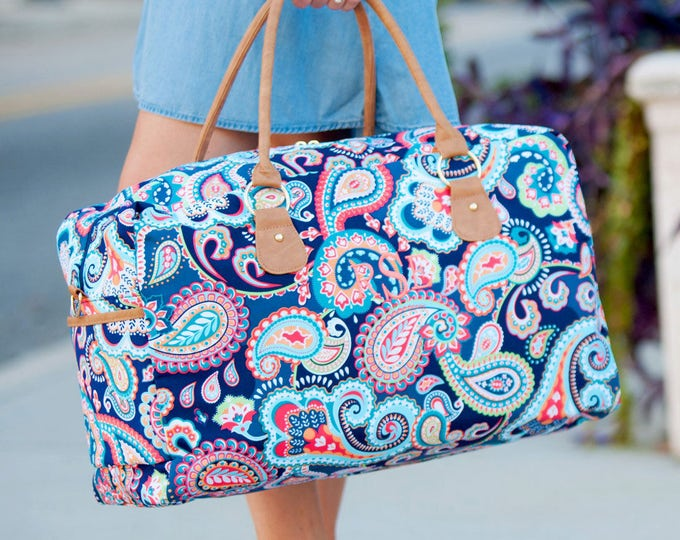 Back to school college 2 Navy Paisley duffel Tote Bags Vacation Overnight Bag Outer Banks Wedding Bridesmaids gifts BeachHouseDreamsHomeOBX