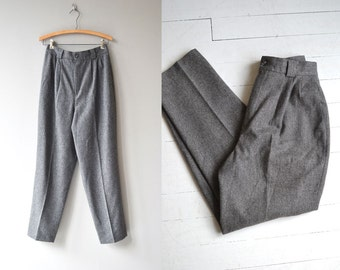 Pewter Wool trousers | vintage wool pants | high waisted wool trousers