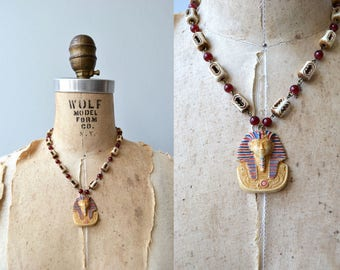 Tutankhamun necklace | vintage 1920s Egyptian revival necklace | antique 20s necklace