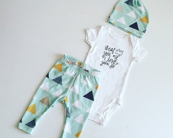 Newborn Baby Boy Coming Home Outfit, Boys Clothing, Pants Shirt with Matching Hat, Arrows, Tribal