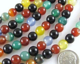 """15"""" Round Gemstone Beads-MULTI COLOR AGATE 8mm"""